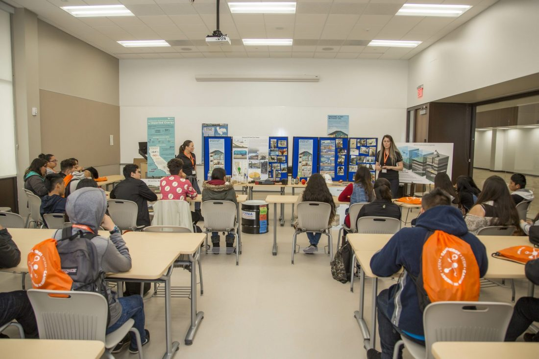CEI team members presenting to a room of students at the Careers in Energy Workshop at Oxnard College.