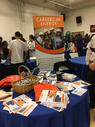 Careers in energy table and banner at a career fair.
